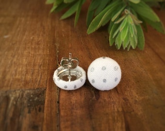Silver Dots. White and Silver Earrings. Handmade Earrings. Fabric Covered Button Earrings. Stud Earrings. Clip On Earrings.