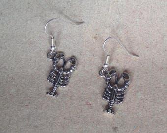 Scorpion earrings silver, animal earrings