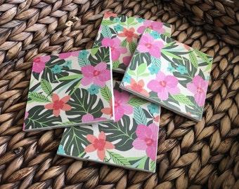 Coasters, Bamboo Coasters, Tropical Coasters, Decorative Coasters, Set of 4 Coasters, Tile Coasters, Drink Coasters, Ceramic Coasters