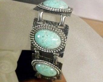 Vintage Jewellery, Vintage Bracelet,  Turquoise Bracelet, Turquoise and Silver Bracelet, Confetti Stones, Bohemian Bracelet, Vintage Jewelry
