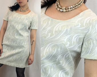 1960s Mini Dress | Ivory Monochrome Brocaded Polyester Mod Mini Shift Dress with Wide Scoop Neck and Short Sleeves | Homemade Vintage