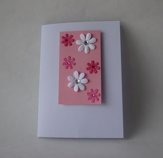 Sale! Valentine's Card - Handmade Card with Flowers - G1