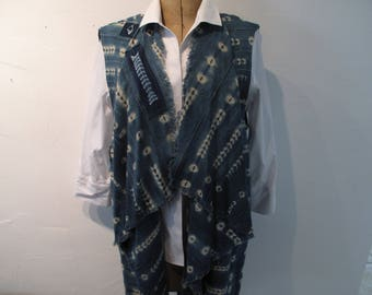 Long drape front vest created with indigo batik mud cloth from Africa-size extra large