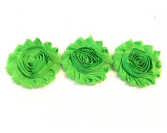 "Green Gorgeous Shabby Frayed Chiffon Flower Rosettes 3 x 2.5"", hair bands, clips, crafts etc"