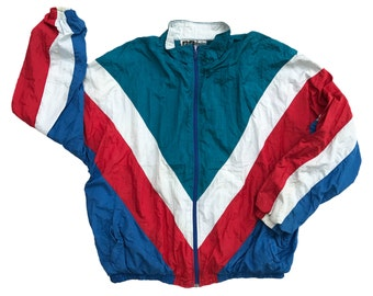 Vintage 80s 90s ACTIVE WEAR Multi-color Windbreaker