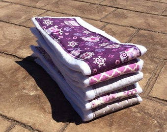 Baby Burp Cloths, Set of 5 Purple and Grey Coordinating Prints-Baby Shower Gift