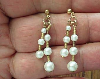 VINTAGE very nice dangle pierced Earrings /zm2