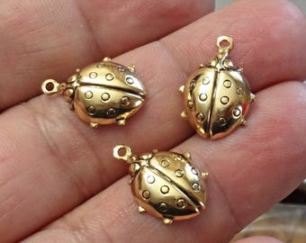 VINTAGE set of 3  brass Stamping ladybug gold OX Charms Made in USA /U60