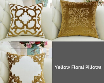 "Luxury Yellow Classical Embroidered Floral Pillow Cover 20""X20"""