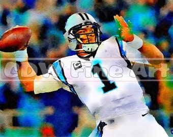 Cam Newton - Limited Edition Print of my original Water Colour Painting