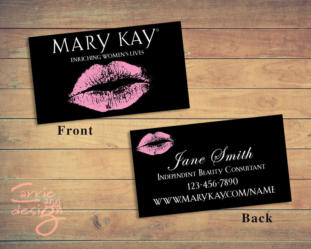 Mary Kay 2-sided Business Cards printable lips pink