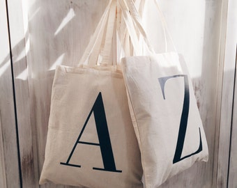 Initial Tote Bag - Monogrammed Tote - Canvas Bag - Canvas Tote - Natural Canvas Tote Bag - Letter Bag - Market - Shopping Bag - Alphabet Bag