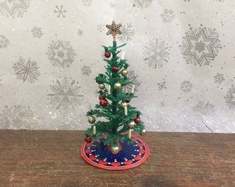 Lundby Vintage Dollhouse Miniature Artificial Christmas Tree | Model 8981 | 1970-80s Holiday MCM Plastic Decor | 1:16 Scale
