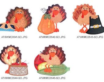 Thanksgiving-Turkeys ( 5 Machine Embroidery Designs from ATW ) XYZ17C