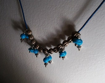Turquoise Faux Silver Necklace