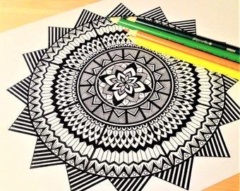 Mandala zentangle colouring