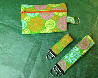 Paisley 5 x 6 1/2 Zipper Pouch with matching wristlet and Key FOB