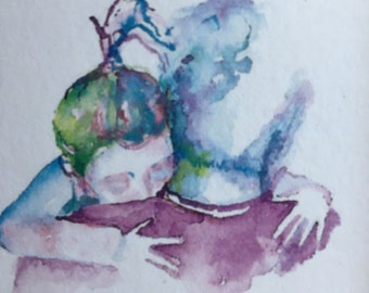 Father and child- inkblot greeting card