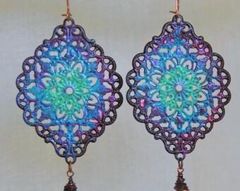 Purple Boho Earring Middle East Tribal Earring Hippie Jewelry Bohemian Jewelry Boho Earring Tribal Earring Hippie Earring Bohemian Earring