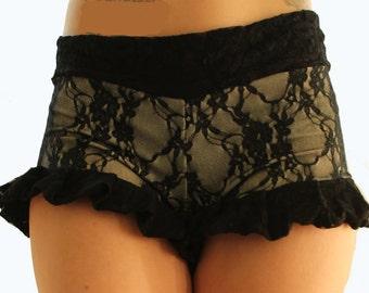 Black Lace Ruffles Shorts