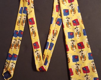 Vintage Fred Flintstone necktie, Official Hanna Barbera product