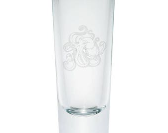 Octopus Tattoo Etched Shot Glass Shooter