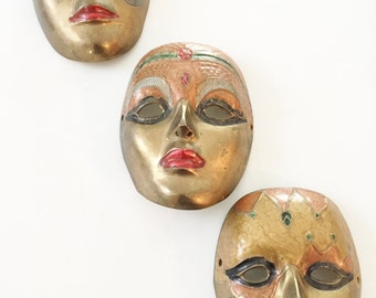 Vintage Solid Brass Theatrical Face Masks (3) Wall Hanging Art
