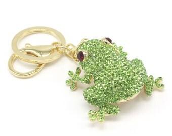 Crystal Tree Frog Pure Handmade Key Chain Handbag Accessory KeyHolder