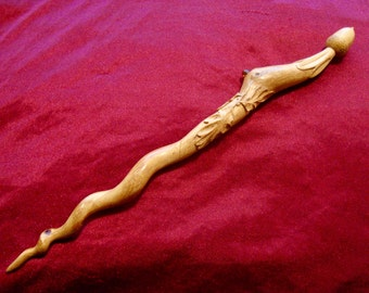 Acorn and Leaf. / Oak Wand / GreenwoodEnchantment / Spiral of energy / Arte Mystique / Wooden wands / Magical tools / Nature magic / Pagan /