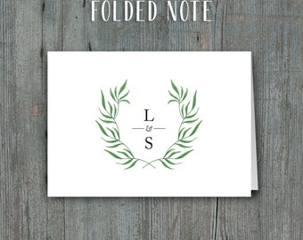 Printable Thank You Cards or Folded Notes • Green Laurel with Monogram
