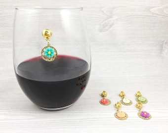 6 Flower Wine Glass Charms, Gold Magnetic Wine Charms, Gift for Her, Wine Lovers, Gift for Girlfriend, 21st Birthday Gift, Wine Accessories