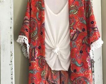 kimono with fringe trim