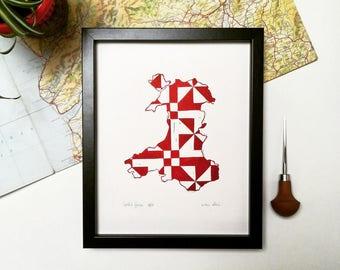 Hand printed Cwrlid Cymru linocut print, Welsh quilt pattern