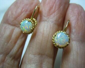 Vintage 14k Gold Opal Earrings Screw On