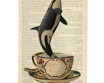 Whale Breaching Teacup - Artisan Inkjet print upcycled from a Bible