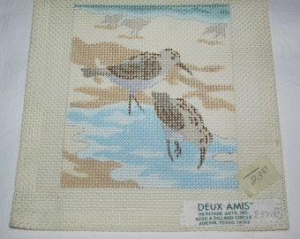 Deux Amis Sandpiper Sea Birds Needlepoint Canvas Beach Scene Vintage 1980s