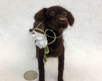 Mini-Pup Needle Felted Chocolate Lab