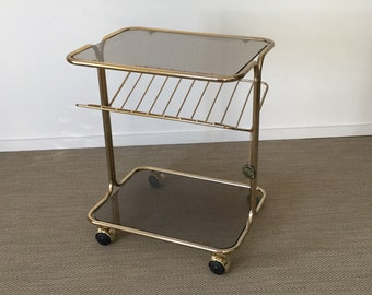 70s magazine rack disk stand 24-carat gold plated