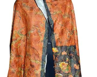 Vintage Kantha Silk Scarve Reversible Round Kantha Stitched Neck Wrap 36