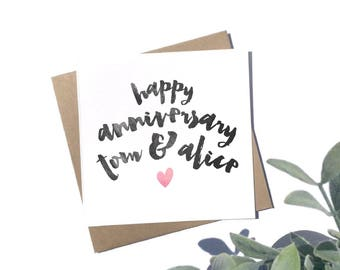 Personalised Anniversary Card - Happy Anniversary Card