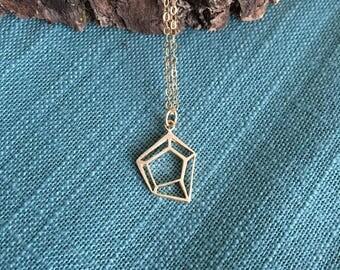 Diamond outline charm necklace; geometric diamond shape, gem pendant, sterling silver, gold filled diamond charm,