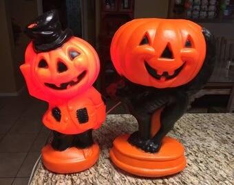 2 two vintage style classic Halloween jack-o'-lantern black cat pumpkin man blow-molds rare 2015 WAL-MART version.