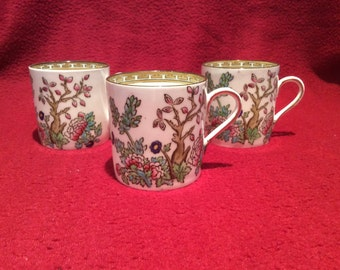 Sampson Bridgwood & Sons Ye Olde Anchor China Indian Tree Coffee Espresso Can Cups set of 3