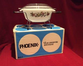 Phoenix Opalware Mixed Fruit Pattern Casserole Dish 1.5 pint with original box and stand circa 1960