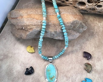 Spring Time Yet Vintage Navajo Kingman Turquoise and Sterling Silver Necklace By James Francisco Signed