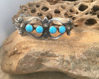 Vintage Navajo Turquoise & Sterling Silver Cuff Bracelet Signed