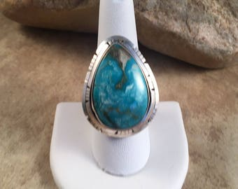 Vintage Navajo Blue Ridge Turquoise and Sterling Silver Ring Size 9 Signed
