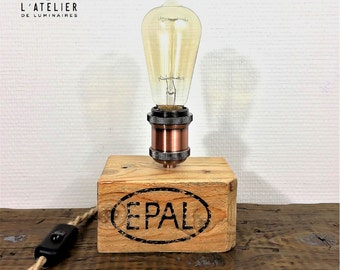 Wood lamp_Natural_Edison_Industrial Lightning_Palette#1_Upcycle_Recycle_Edison bulb_Bedside lamp_Rope