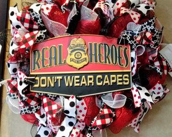 Fireman Wreath, Hero Wreath, Deco Mesh Wreath