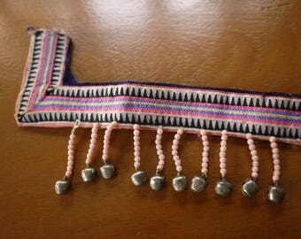 Antique vintage Hmong textile - asian tribal textile - jacket trim border piece from old costume